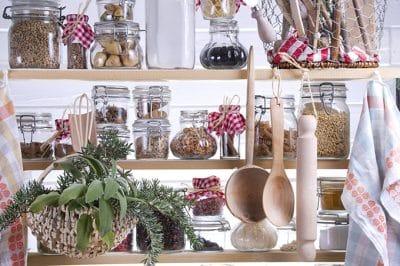 jars on a shelf for kitchen organization